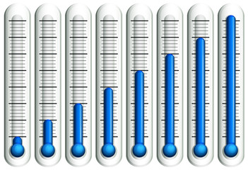 Thermometer with blue liquid
