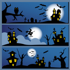 Set of Halloween banner. Holiday design.