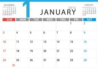 planning calendar simple template January 2016
