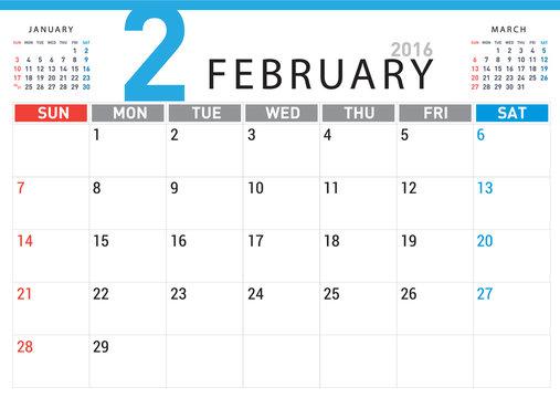 planning calendar simple template February 2016