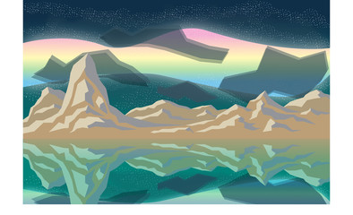 Mountain with aurora in night sky
