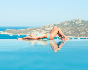 Beauty woman in pool