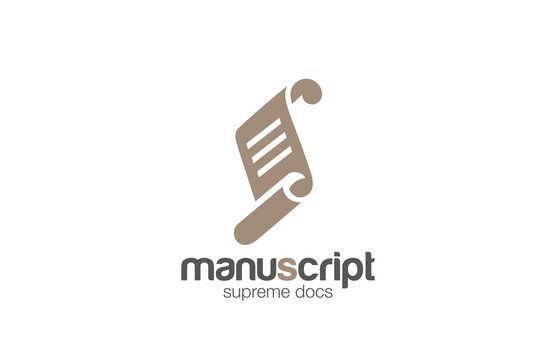 Paper roll manuscript Logo Lawyer Education design vector