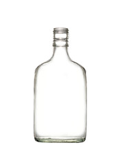 Empty colorless glass bottle