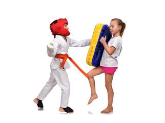 karate girl  It fulfills blows hand