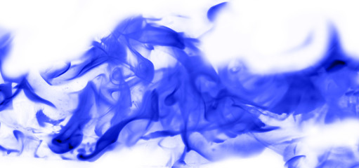 blue flame of fire on white background