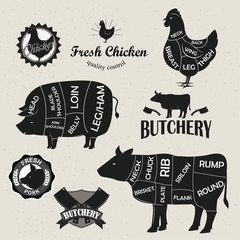 Chicken, beef and pork cut set and butchery logo set