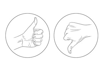 thumb up thumb down contour icon