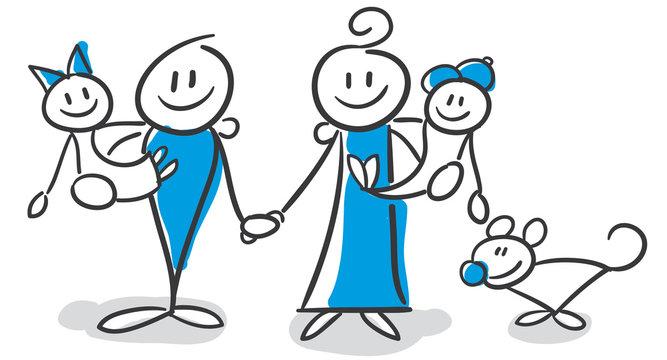 Stickfigure Figure Series Blue