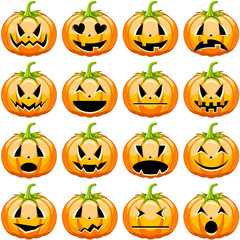 Collection of halloween pumpkins with different facial expressions and mood isolated