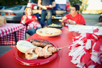 Tailgating: Football Game Snack Food Of Grilled Shrimp And Sausa