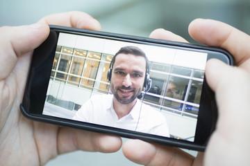 Businessman in skype video