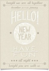Vintage style poster with lettering design and New year greetings