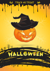 Halloween party poster pumpkin witch monster trick or treat