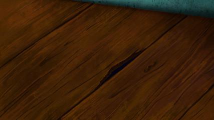 Wooden laminated floor with cracks and holes. Digital background raster illustration.