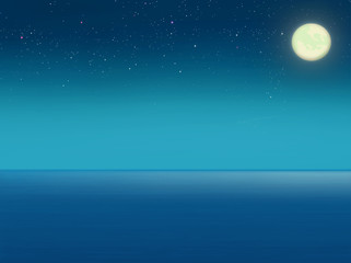 Sea at night. Full moon. Starry sky Digital background raster illustration.