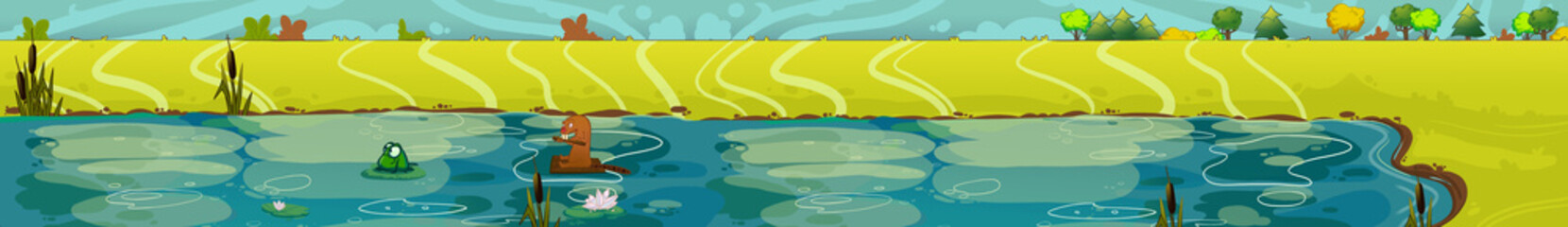Summer lake view. Digital background raster illustration.