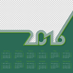 Striped calendar for year 2016 with place for photo