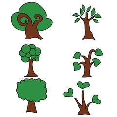 Cartoon illustrations of natural  green trees