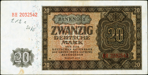 Historische Banknote, 1948, Zwanzig Deutsche Mark, Deutschland