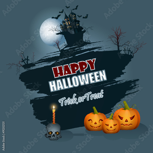 Happy Halloween Message; Background With Moonlight Scene;Holidays, Template  With Scary Skull Carry