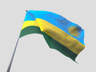 Rwanda flying flag isolate on white background