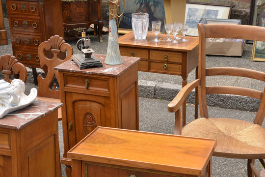 France, old objects on a flea market in the city of Wissembourg