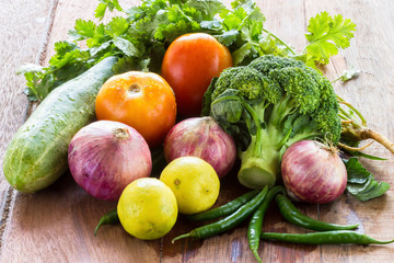 fresh vegetables on wood background