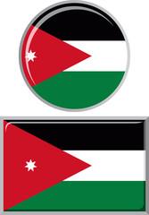 Jordan round and square icon flag. Vector illustration.