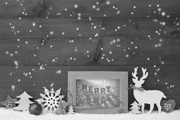 Black And White Christmas Background Snowflakes Frame Merry Xmas
