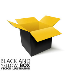 Black and yellow open box 3D/ vector illustration, design element
