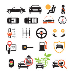 Car Specification and Performance Objects icons Set, Black ad white with Color, Automobile Function and Option