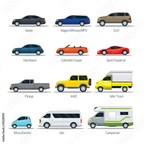 Car Type And Model Objects Icons Set White Body Color Automobile Stock Image Royalty Free Vector Files On Fotolia Pic 91209024