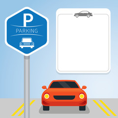 Car with Parking Sign, icon and Blank Space