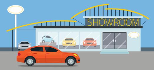 Cadres-photo bureau Voitures enfants Car Showroom Illustration, Flat Design, Panorama, Automobile