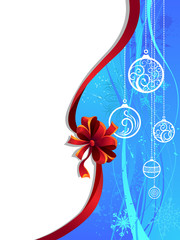 Blue Christmas wallpaper with red ribbon.
