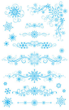 Snowflake page dividers and decorations isolated on white backgr