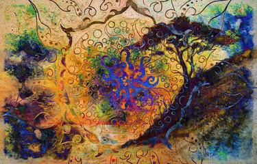 Painting sunset, sea, trees, landscape and ornamental mandala