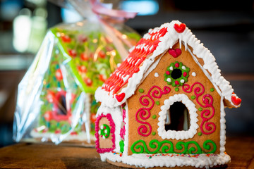 sweet gingerbread house is beautifully decorated for Christmas