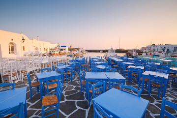 Restaurants in the port of Naousa village on Paros island, Greece