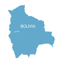 blue map of Bolivia with indication of La Paz