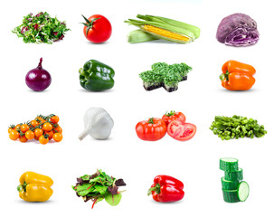 Set collection of  vegetables isolated on white background.