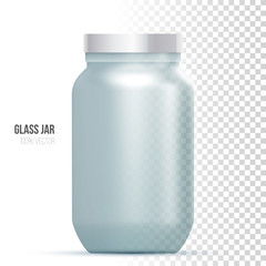 Template of glass jar on a white background.