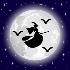 silhouettes of witches and bats on a background of the moon