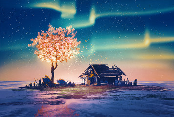 abandoned house and fantasy tree lights under Northern Lights,illustration painting.
