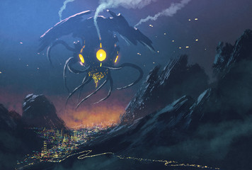 sci-fi scene.Alien ship invading night city,illustration painting