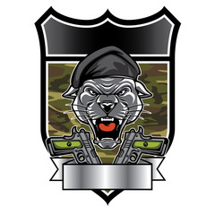 Cougar Panther Mascot Head military emblem