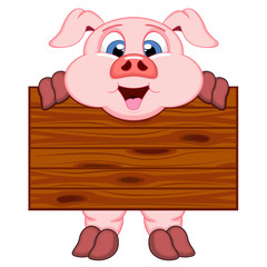 Pig with board cartoon