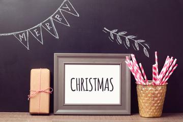 Christmas poster mock up template over chalkboard background