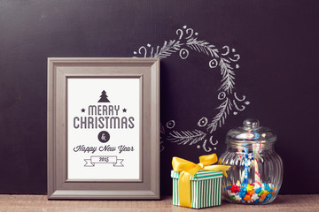 Christmas poster mock up template with candy jar over chalkboard background